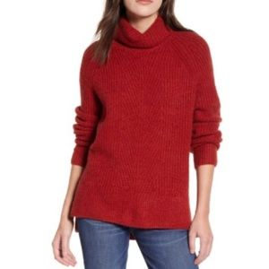 Madewell Turtleneck Sweater In Heather Ruby